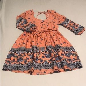Coral flower mini dress.